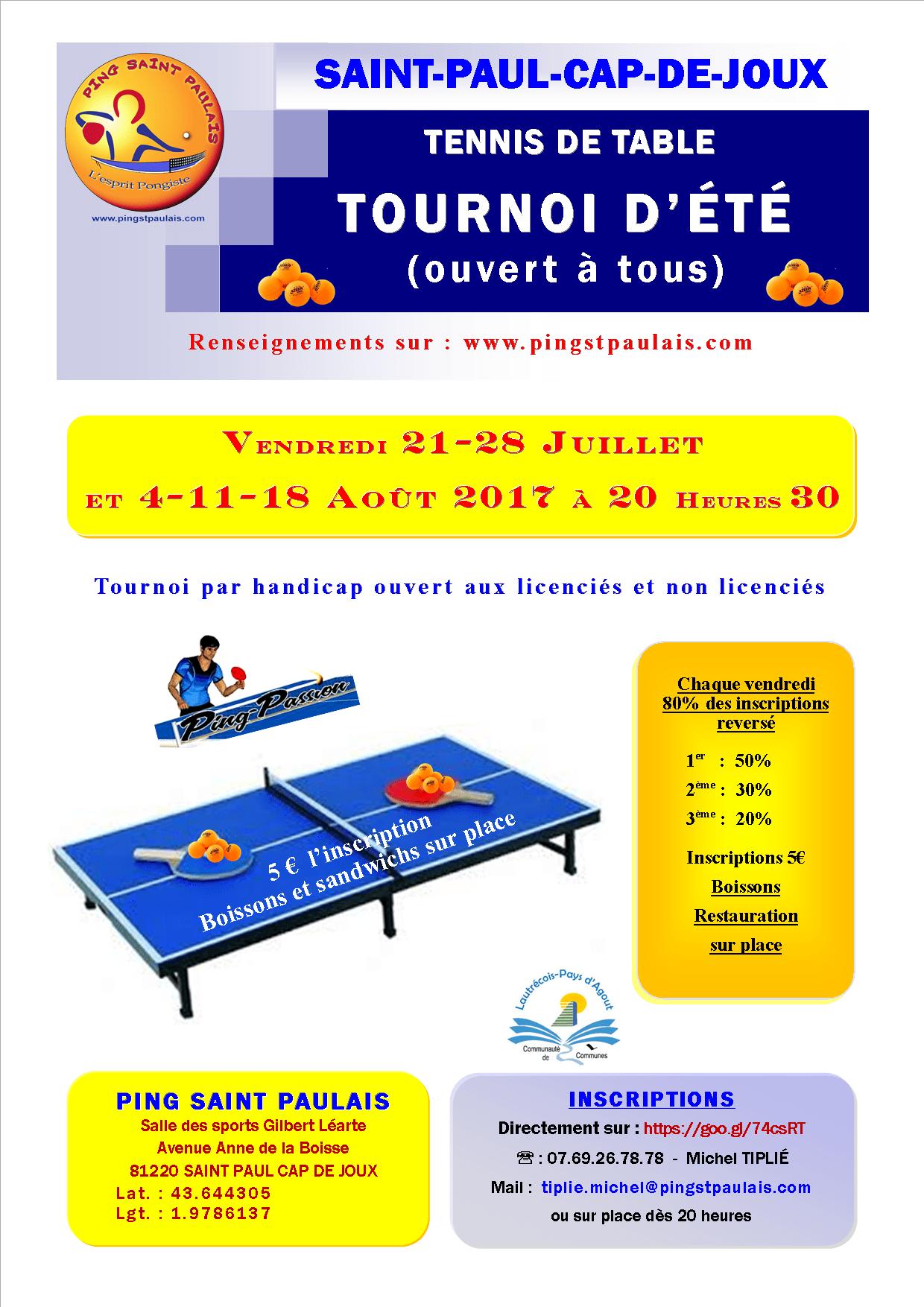 Affiche tournoi d t 2017 st paul cap de joux a4 ping - Tournoi tennis de table ile de france ...