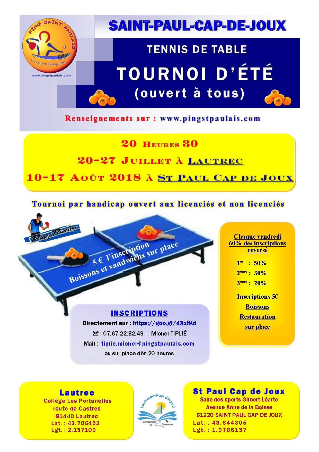 Affiche tournoi d'été 2018 Lautrec-St Paul Cap de Joux A4