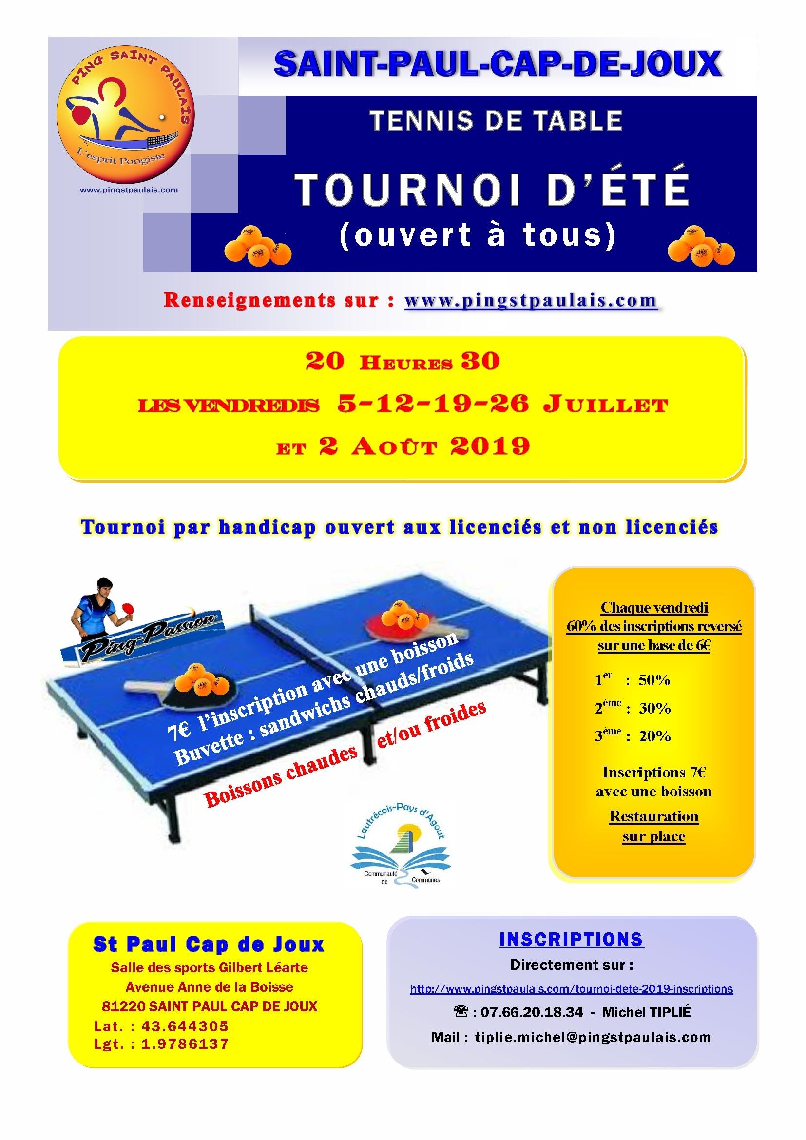 Affiche tournoi d'été 2019 St Paul Cap de Joux A4